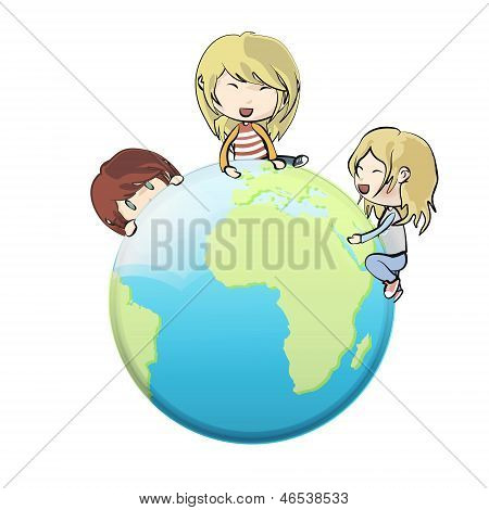 Kids Around Globe. Vector Design.