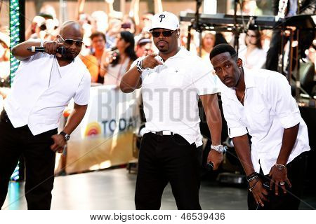 NEW YORK-MAY 31: (L to R) Wanya Morris, Nathan Morris, Shawn Stockman of Boyz II Men perform on NBC's 'Today' in Rockefeller Center on May 31, 2013 in New York City.