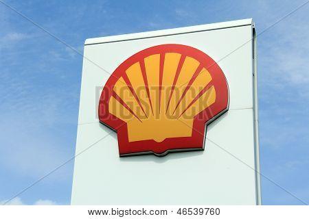 Logo Shell Against Sky