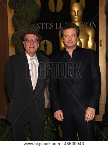 LOS ANGELES - FEB 7:  GEOFFREY RUSH & COLIN FIRTH arrives to the 83rd Academy Awards Nominees Luncheon  on Feb 7, 2011 in Beverly Hills, CA