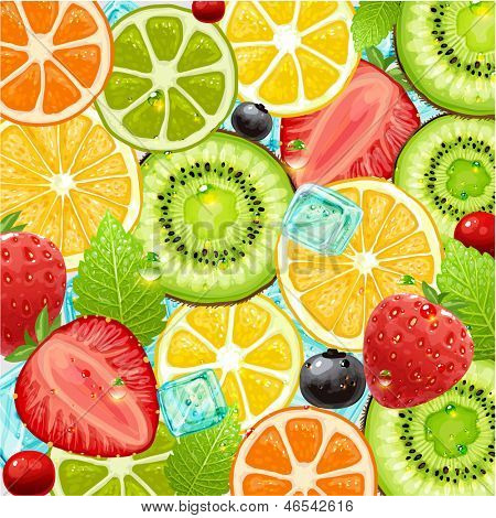 Summer holidays vector illustration set with cocktail fruits and berries. Strawberry, cherry, orange, lemon and ice cube for best summer design.
