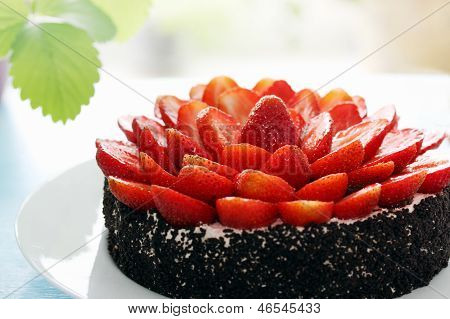 Cake Decorated With Strawberry Halves