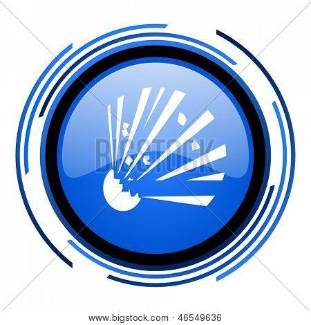 bomb circle blue glossy icon