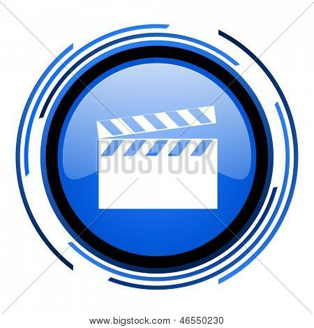 movie circle blue glossy icon