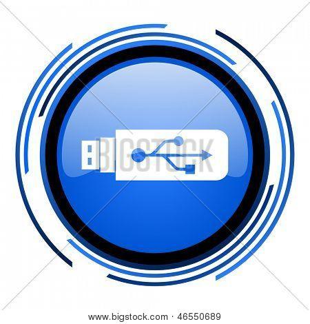 usb circle blue glossy icon