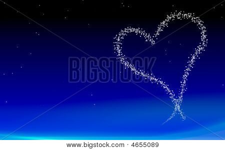 Heart On Night Sky Background
