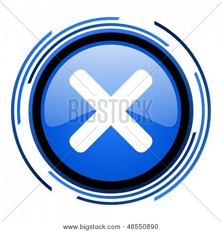 cancel circle blue glossy icon
