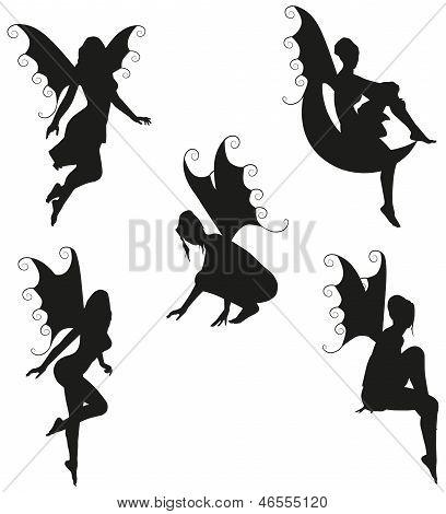 5 Vector Fairy Silhouettes