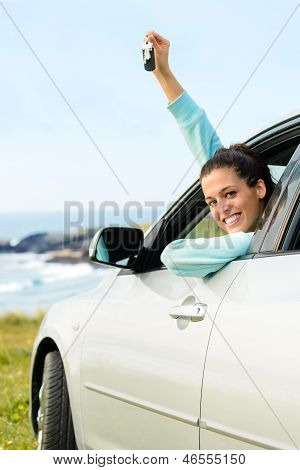Woman On Car Travel With Keys