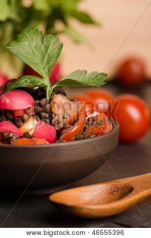 Fresh Radish Salad With Green Italian Parsley