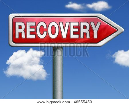 recovery economic growth market recovery button icon red road sign arrow with text and word concept