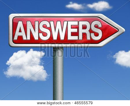 find answers indicating way to solve problems answer button answer icon search answer and discover truth red road sign arrow