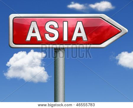 road to asia for travel and tourism vacation destination sign post arrow leading to asian continent asia button or icon