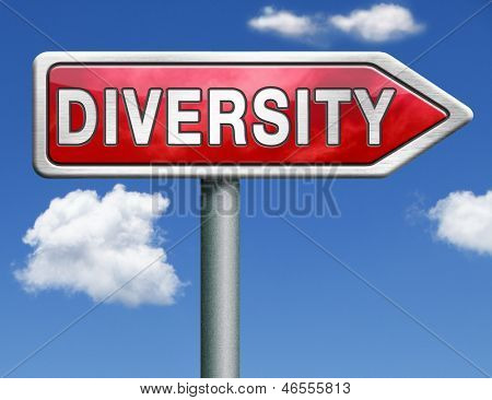 Diversity towards diversification in culture ethnic social age gender genetics political issues red road sign arrow with text and word concept