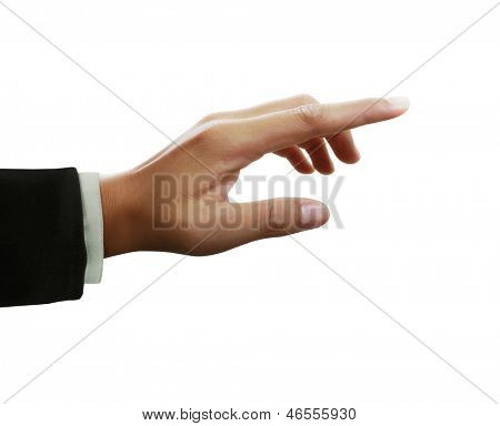 hand touching virtual screen. Isolated on white