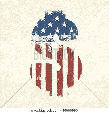 Grunge amerikanische Flagge Motto Dollarzeichen. Raster Version, Vektordatei in meinem Portfolio zur Verfügung.