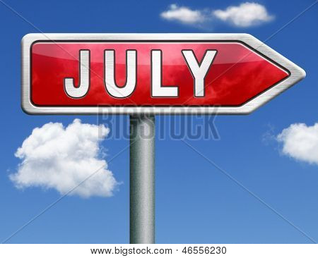 July pointing to next month of the year summer road sign arrow