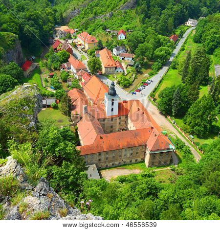 Saint John under the Cliff (Svaty Jan pod Skalou) Medieval village with monastery built over a mysterious cave and healing spring. Most beautiful place in The Central Bohemia. Czech Republic, Europe.