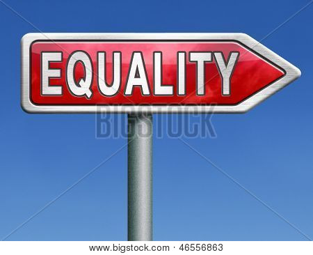 equality equal rights and opportunities for all women man disabled black and white solidarity discrimination of people with disability or physical and mental handicap red road sign arrow word