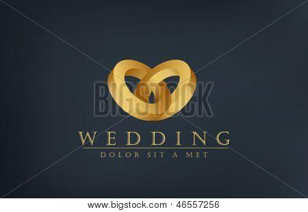 Wedding Rings Logo Wedding Gold Rings Logo Vector