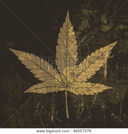 Cannabis leaf grunge icon. With stained texture. Raster version, vector file available in my portfolio.