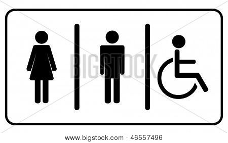 Vector Man, Woman and invalid one, restroom \ toilette symbol