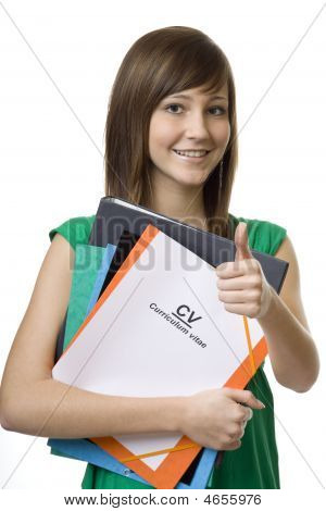 Female Student With Briefcase Cv, Curriculum Vitae
