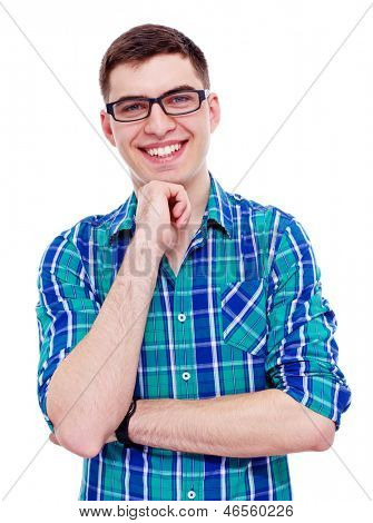 Closeup portrait of smiling young man with hand on his chin. Isolated on white background, mask included