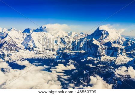 Himalaya Everest Range View From Mountain Flight