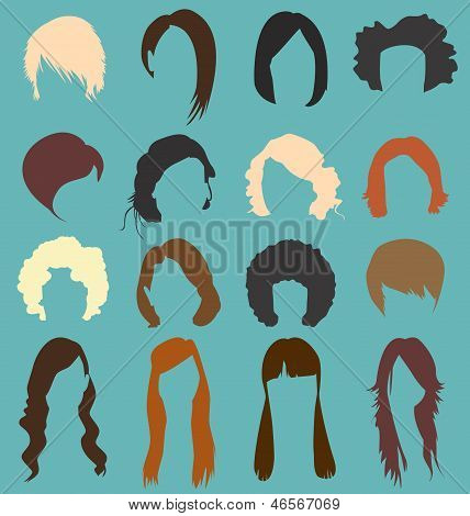 Retro Style Woman's Hair Style Silhouettes