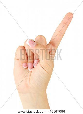 Finger Spelling the Alphabet in American Sign Language (ASL). Letter Z