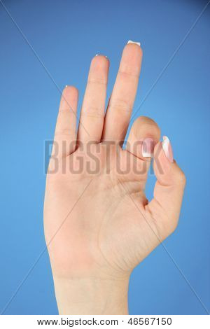 Finger Spelling the Alphabet in American Sign Language (ASL). Letter F