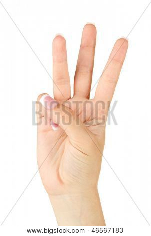 Finger Spelling the Alphabet in American Sign Language (ASL). Letter W
