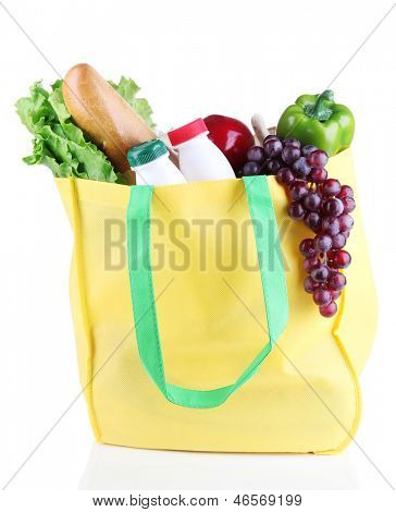 Eco bag with shopping isolated on white