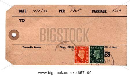 Genuine 1930S Parcel Tag