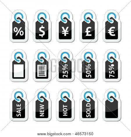 Shopping, price tag, sale vector icons set