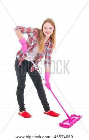 Young Housewife With Mop Isolated On White