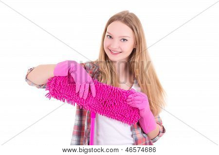 Portrait Of Young Attractive Housewife With Mop Isolated On White