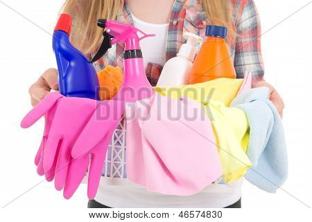 Cleaning Equipment In Female Hands