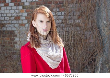 Young Attractive Woman Over Brick Wall