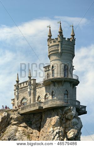 YALTA, UKRAINE - MAY 11: Swallow's Nest castle near Yalta, Crimea, Ukraine on May 11, 2013. The decorative castle was built in 1911-1912, and now it's a museum