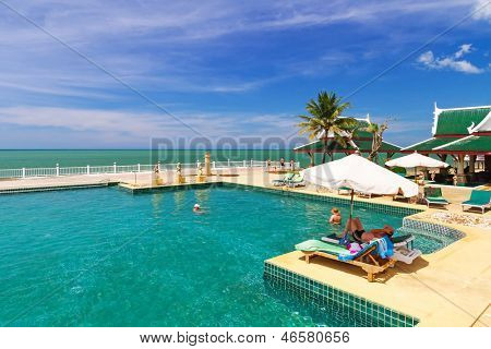 KOH KHO KHAO, THAILAND - NOV 7: Scenery of swimming pool at Andaman Princess Resort & SPA. Hotel was destroyed by tsunami in 2004 and rebuild, Koh Kho Khao, Phang Nga in Thailand on Nov. 7, 2012.