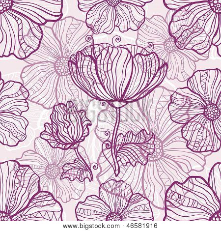 Ornate poppy flowers vector seamless pattern