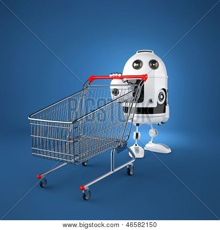Android Robot With Shopping Cart