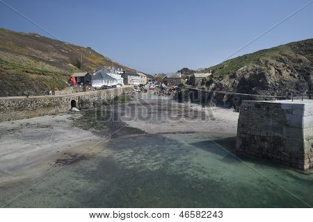 A traditional Cornish fishing village and harbor