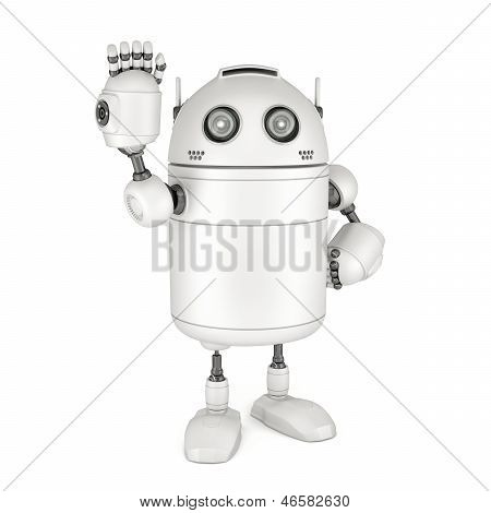 Friendly Robot Waving Hello