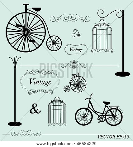 Vector set of vintage design elements, can be used for wall sticker.