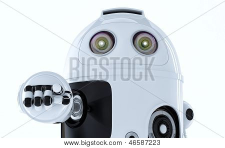 Android Robot Pointing At You.