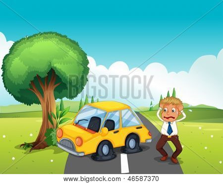 Illustration of a car bumping the tree at the road