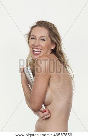 Vivacious Laughing Topless Woman